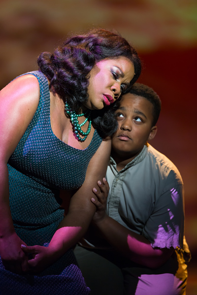 Denyce Graves as Emelda Griffith and Samuel Grace as Little Emile Griffith in Champion. Photo by Scott Suchman.