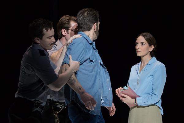 Kate Lindsey as Sister Helen Prejean and Michael Mayes as Joseph De Rocher in Dead Man Walking. Photo by Scott Suchman.