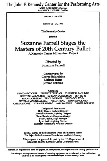 Suzanne Farrell Stages Masters of 20th Century Ballet 1999 playbill
