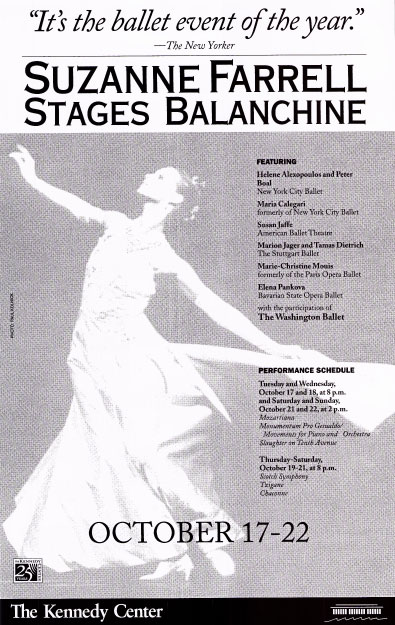 Suzanne Farrell Stages Balanchine 1995 window card