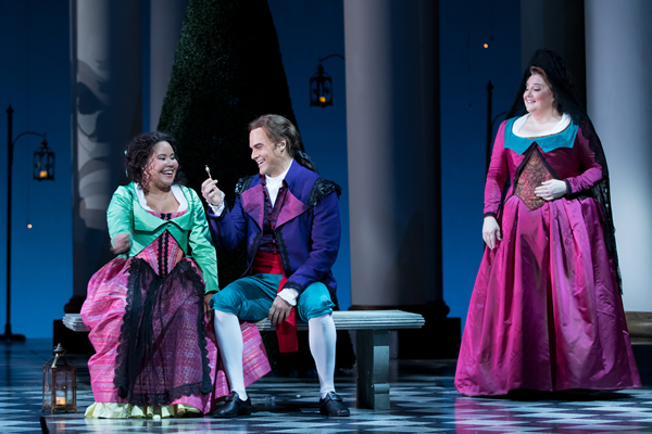 Ariana Wehr as Barbarina, Ryan McKinny as Figaro, and Elizabeth Bishop as Marcellina.