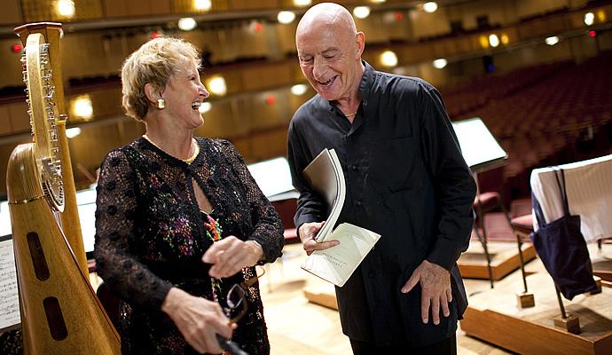 Principal Harp Dotian Levalier with Music Director Designate Christoph Eschenbach